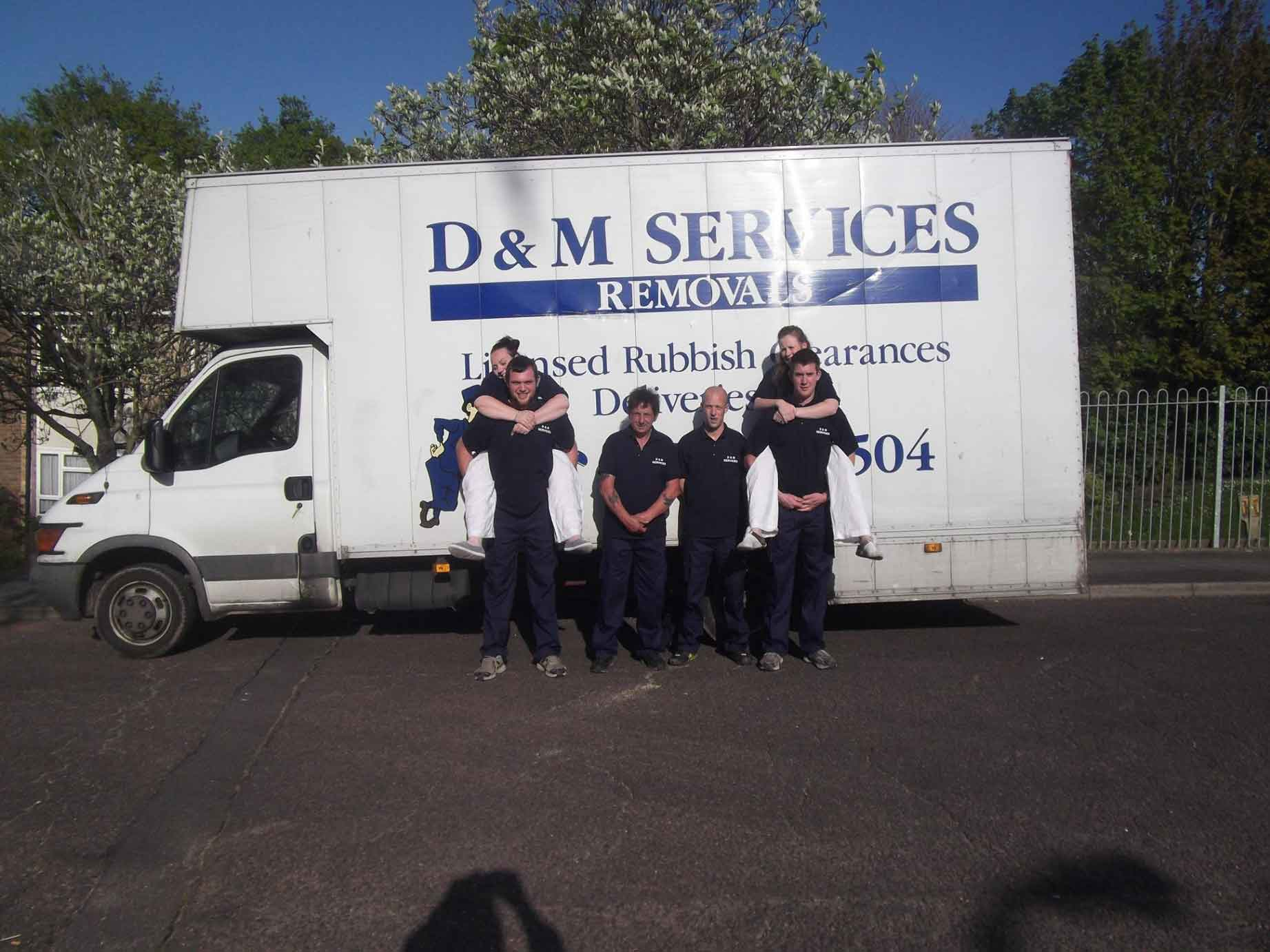 domestic removals staff with van